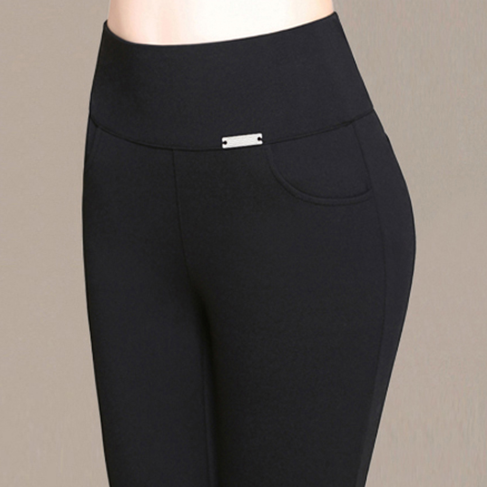 2018 neue Mode Frauen Bleistift Hosen Beiläufige Elastische Taille Dünne Hosen Leggings Plus Größe S-6XL Schwarz Weiß Stretch Hosen