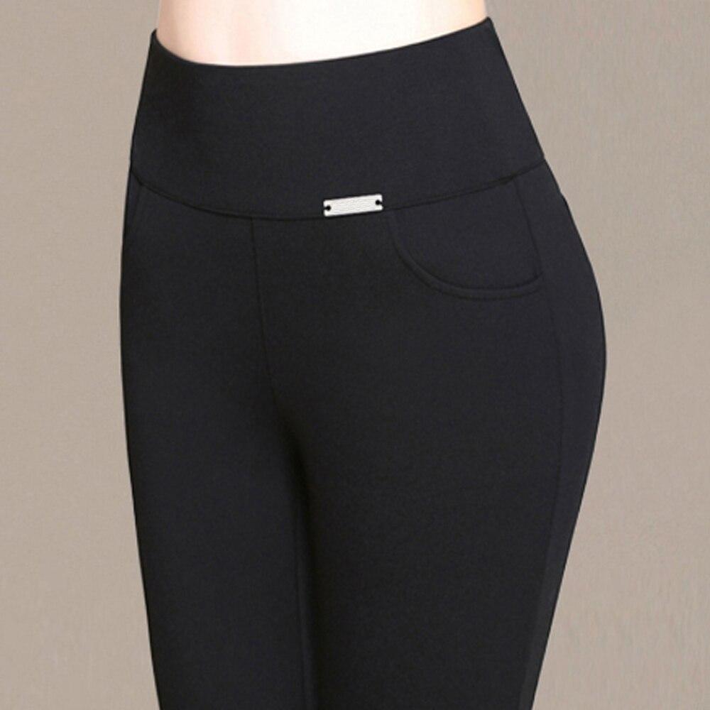 S-6XL nueva moda mujer Pantalones lápiz Casual cintura elástica pantalones ajustados Leggings talla grande 2018 negro blanco pantalones elásticos