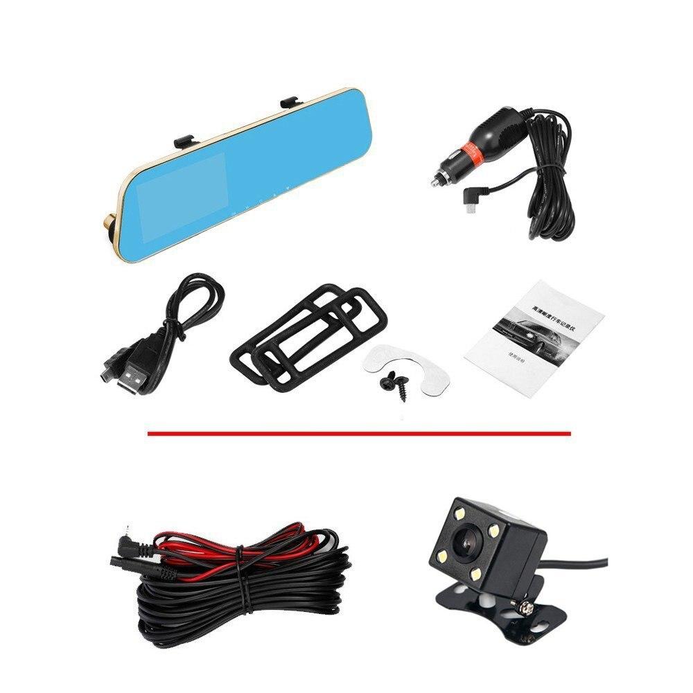 Auto Dual Lens Dash Cam Auto Camcorder FHD registrador 4,3 pulgadas Dash Cam coche Dvr azul revisión espejo grabadora de vídeo Digital - 5