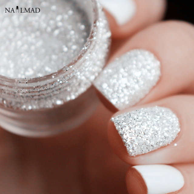 10ml Shiny Silver Nail Glitter Sequin White Glitter Powder Nail Art Powder Dust Fairy Dust Makeup Manicure Nail Decoration
