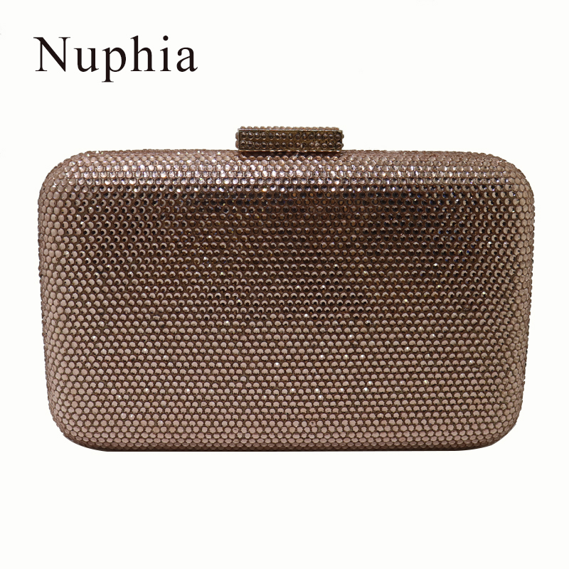 NUPHIA 2018 New Crystal Evening Bags and Clutches Handbag for Party Prom Evening Green Purple Navy