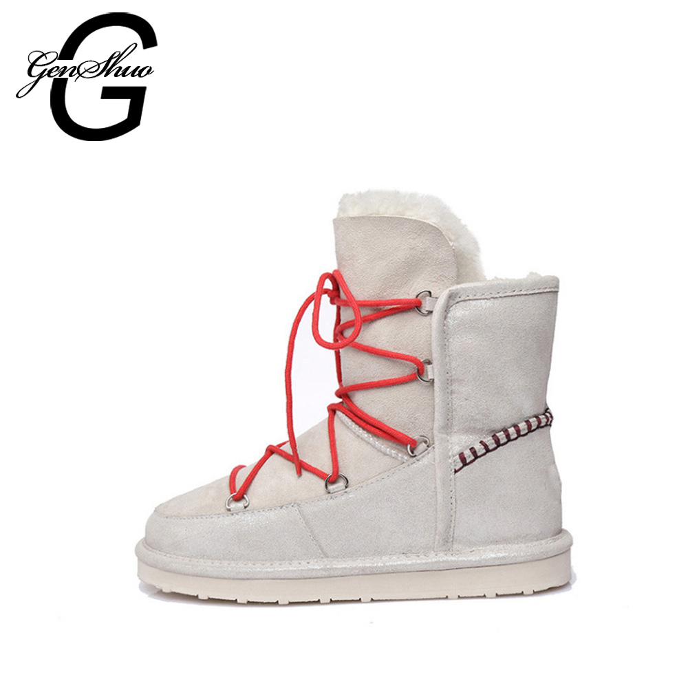 GENSHUO Winter Warm Boots New Snow Boots Women Round Toe Flat Ankle Boots Faux Fur Short Plush Women's Boots Cross Lace Up beango fashions snow boots women s winter fur rubber genuine leather lace up flats round toe mid calf new comfort warm boots