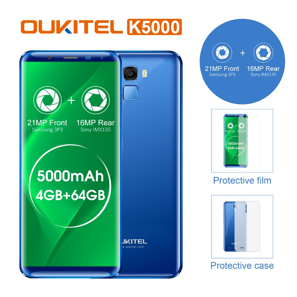 Oukitel K5000 18:9 Affichage 5.7 HD Android7.0 Téléphone Portable MTK6750T 4g + 64g Octa Core 5000 mah 16MP charge rapide Doigt ID Portable