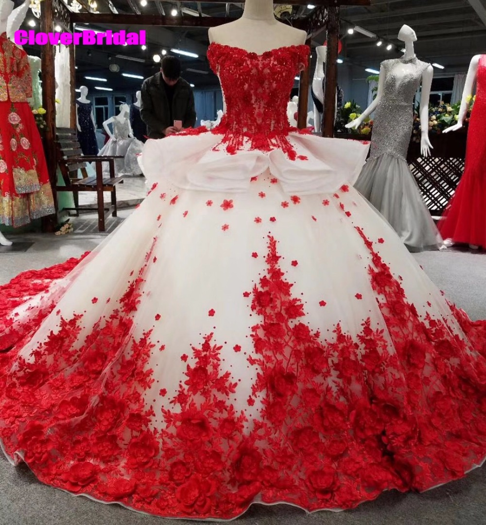 Red And White Lace Wedding Dress: CloverBridal Off The Shoulder Ball Gown Red And White Lace