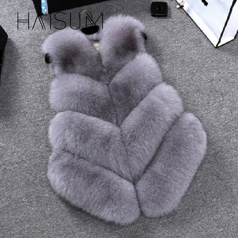 Haisum New 2018 de invierno de las mujeres gruesas calientes Faux Fox chaleco de piel de alta calidad de moda con cuello en v abrigo de piel para mujeres Outwear HN89