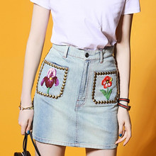Mini denim skirts 2017 Fashion sexy women Rivet beading floral embroidery high waist denim pencil skirts short jeans saia