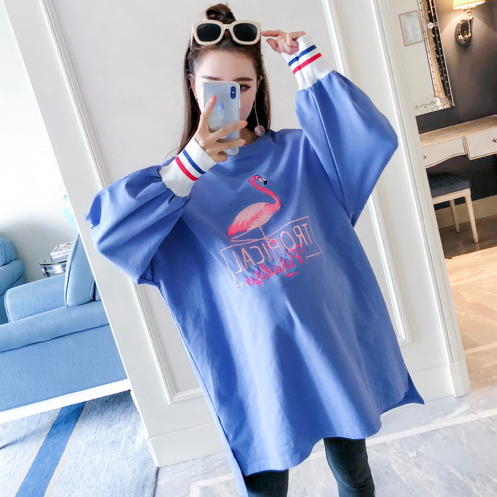 Pregnant women sweater fashion models 2018 autumn new long-sleeved casual shirt loose large size embroidery maternity dress