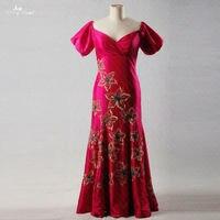 RSE190 Elegant Abendkleider Short Sleeves Long Evening Gowns V Neck Mermaid Plus Size Evening Dress