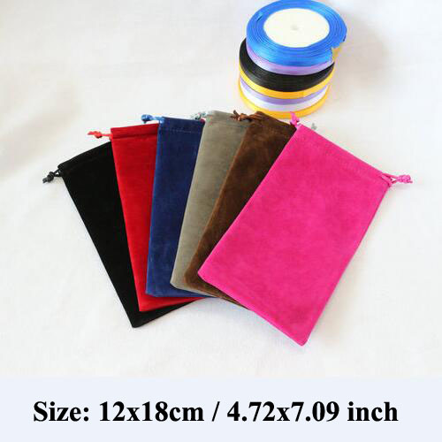 Retail 12x18cm DOUBLE Sided Thicken Velvet Bags For Jewelry Pouches Phone Bags Packaging Gift Bags With Flannel Ribbon