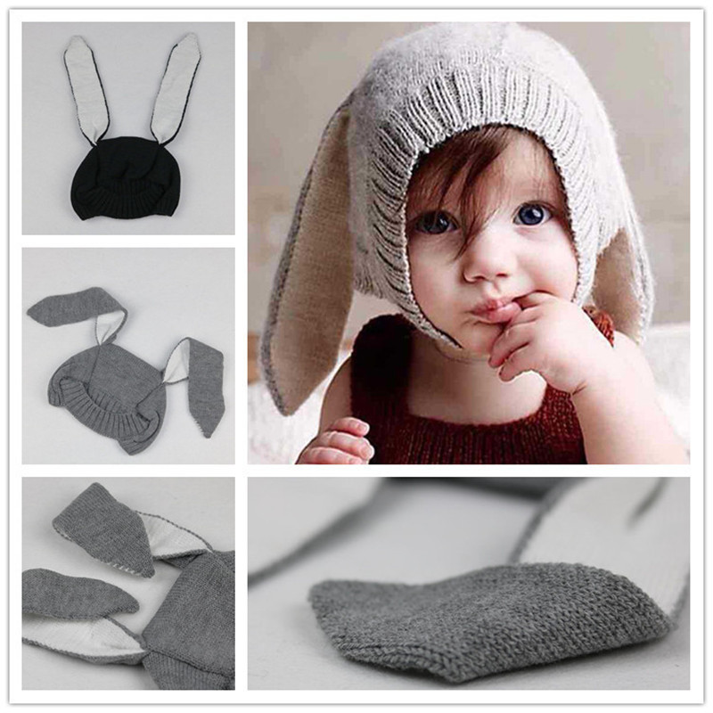 a75365dc217 Baby Rabbit Ears Hat Infant Toddler Autumn Winter Knitted Caps for Children  Baby Bunny Beanie Hats Accessories Photography Props-in Hats   Caps from  Mother ...