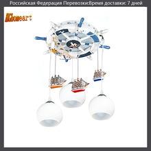 Mediterranen stil kinder 3 kopf glaskugel licht pendelleuchten e27 110 v/220 v cartoon led pendelleuchte für esszimmer moderne