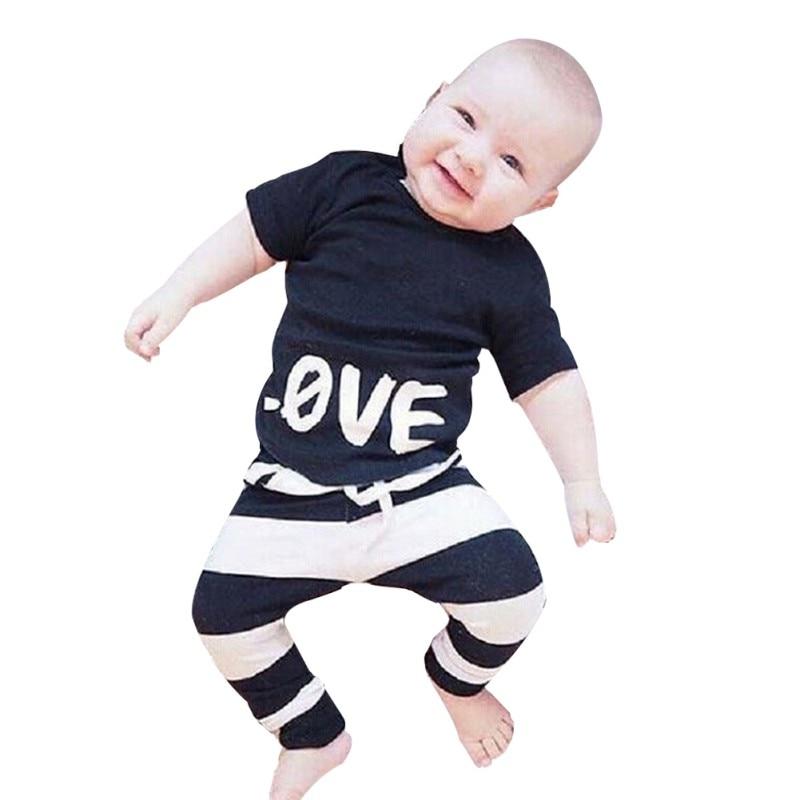 T-Shirt Pants Baby Short-Sleeved Fashion Summer Letter Cotton Newborn Fun