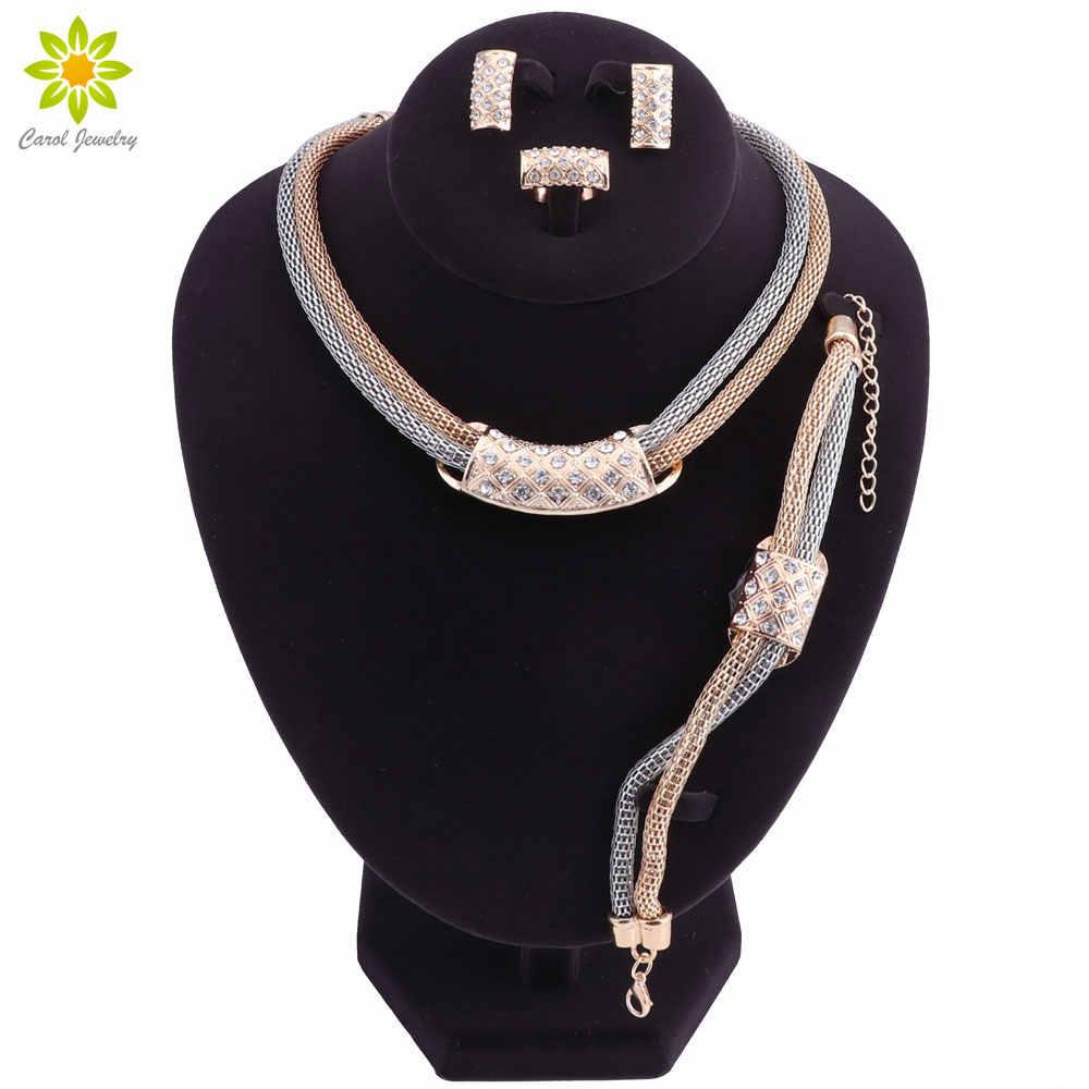 Schmuck Sets Für Frauen Brautjungfer Kristall Afrikanische Perlen Schmuck-Set Gold Farbe Äthiopischen Hochzeit Schmuck