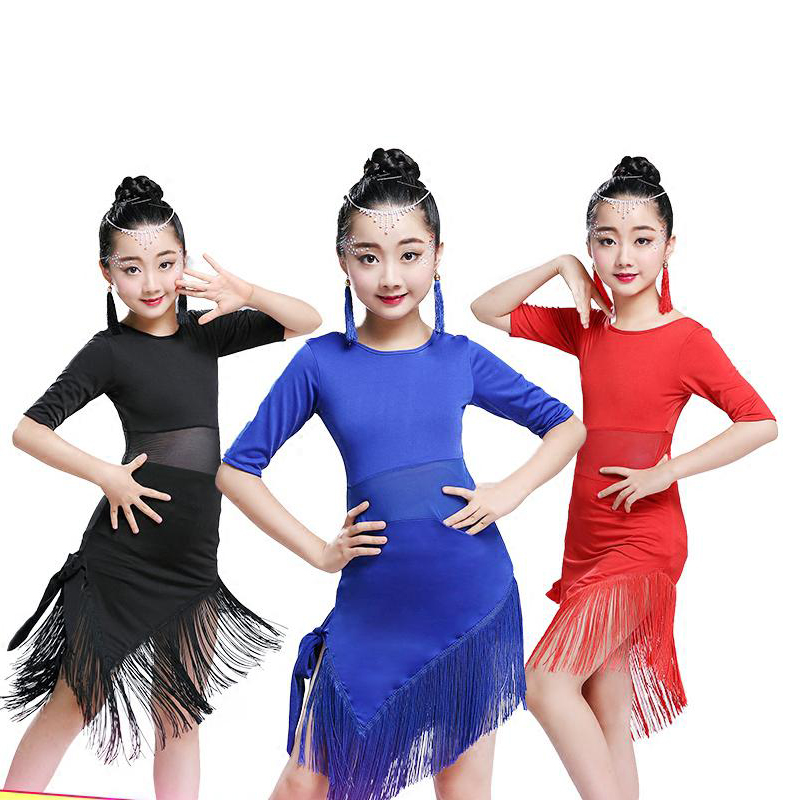 Tassel Latin Dance Dress For Girls Children Salsa Tango Ballroom Dancing Dress Competition Costumes Kids Practice Dance Clothing(China)