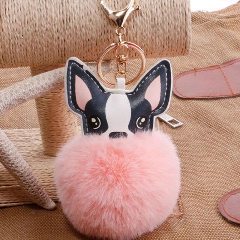 Fluffy Rabbit Fur Ball French Bulldog Keychain Pompom Key Chain Pu Leather Animal Dog Keyring Holder Bag Charm Trinket Chaveiros