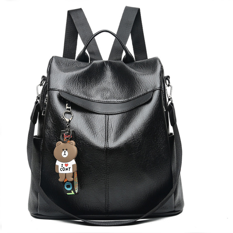 2019 Women Backpack high quality PU Leather Fashion Backpacks Female Feminine Casual Large Capacity Vintage Shoulder Bags in Backpacks from Luggage Bags