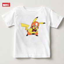 New Arrival Print Pikachu Cartoon Tee Tops For Boy Girls Clothing Summer Children Funny lovely Kids T Shirt