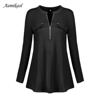 Amikast Patchwork Shirt Women Tshirt Long Sleeve Plus Size Women Clothing Irregular Hem Loose Tops Blusa