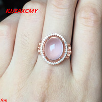 KJJEAXCMY Fine jewelry 925 Sterling Silver with natural peach pink hibiscus shinv ring wholesale alive.