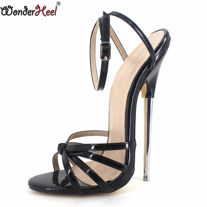 Wonderheel 2016 summer Extreme high heel 18cm heel BLACK Sexy fetish High Heel BUCKLE STRAP WOMEN
