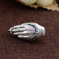 FNJ 925 Silver Buddha Pendant Double Hand 100% Pure S925 Solid Thai Silver Pendants for Women Men Jewelry Making