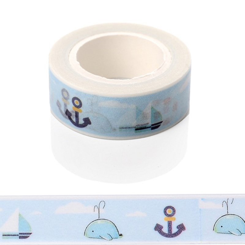 1 Pcs Ocean Sea Dolphin Washi Paper Masking Tape Scrapbooking Tapes Gift Wrapping Sticker Diy Stickers Decorative Scotch Tape kitmmmc32helmetsfunv72220 value kit scotch nfl helmet tape dispenser mmmc32helmetsf and universal smooth paper clips unv72220