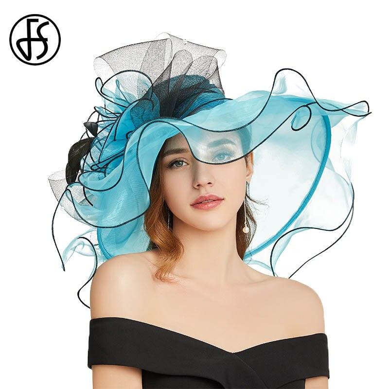 FS Elegant Summer Sun Hats For Women Tea Party Organza Flower Beach Cap Wide Brim Ladies Church Dress Kentucky Derby Fedoras