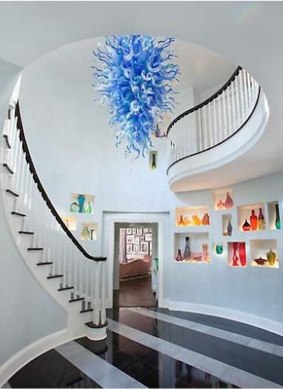 Venda quente Azul Itália Estilo Barato Murano Lustre De Vidro Sala de Jantar Iluminação LED Cozinha Lâmpada