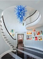 Hot Sale Blue Glass Chandelier Lighting Dining Room LED Italy Style Cheap Murano Kitchen Lamp