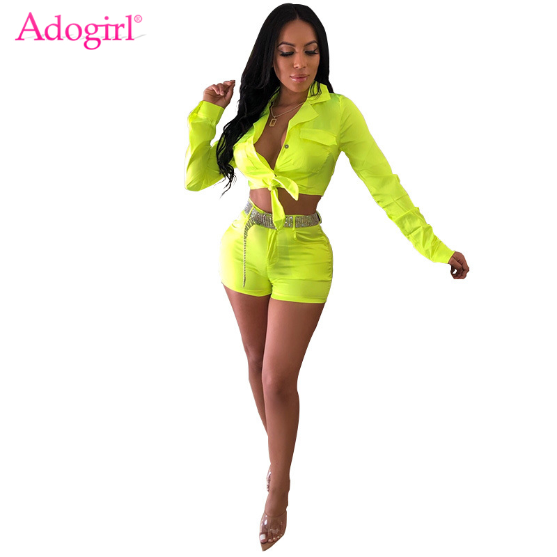 Adogirl Fluorescent Color Women Two Piece Set Front Tie Pockets Long Sleeve Shirt Crop Top + Shorts Sexy Night Club Outfits