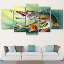 Painting Art 5 Pcs Pike Fish 5D DIY Diamond Full Square Drill Pictures Embroidery Mosaic Cross Stitch Handmade Wall Decoration