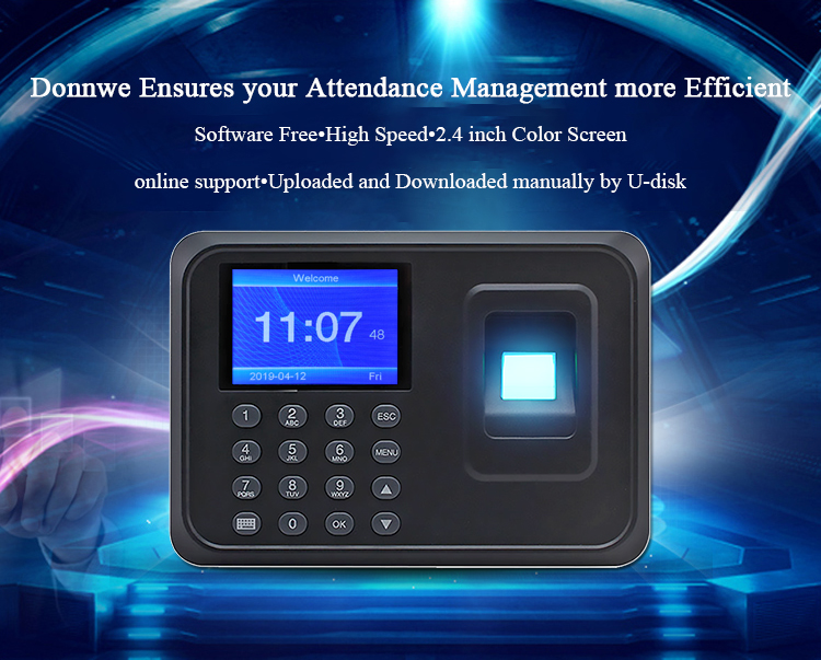 Biometric Fingerprint Time Attendance Machine Clock Recorder Employee Recognition Office Device Electronic Five Languages(China)