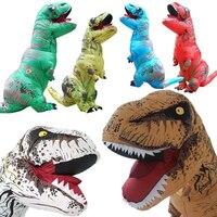 2017 דינוזאור מתנפח חם ליל כל הקדושים למבוגרים תלבושות הפנטזיה Cosplay תלבושות למבוגרי Disfraces מבוגרים T-REX מאוורר מופעל