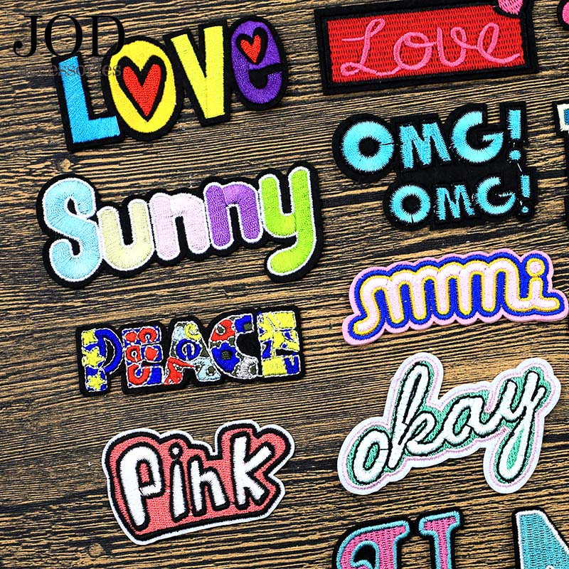 JOD Personalized Letter Clothes Patches Alphabet Embroidered Stickers Jacket Dress Applique Decoration Ironing Application Brand in Patches from Home Garden