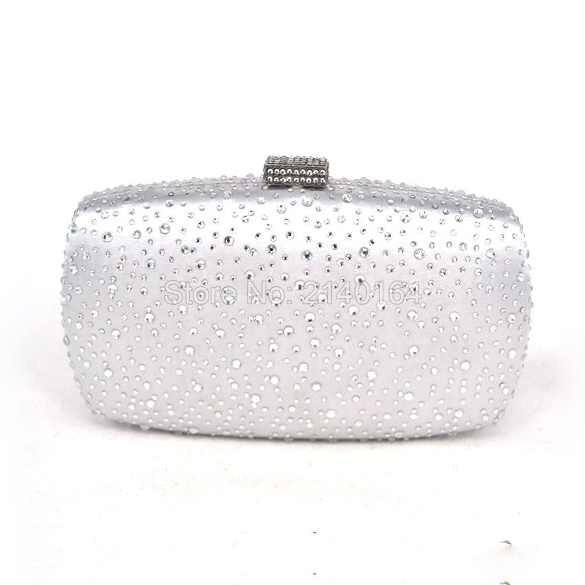 2016 Hot Fix Crystal Women Small Totes Handbags Evening Party Box Clutch Purse Elegant Bag Sliver Purple Day Clutches T10