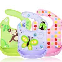 Children Baby Eat Waterproof Bibs Stereo Newborn Baby Bib Pocket Silicone Imitation Rice Slobber Bibs