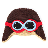 Baby Accessories Wholesale Spring Winter Crochet Baby Pilot Hats Hand Knitted Earflap Hat Beanies Newborn Toddler