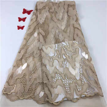 New French Nigerian Sequins Net Lace African velvet tulle mesh Sequence lace fabric high quality for wedding dress 5yards/lot