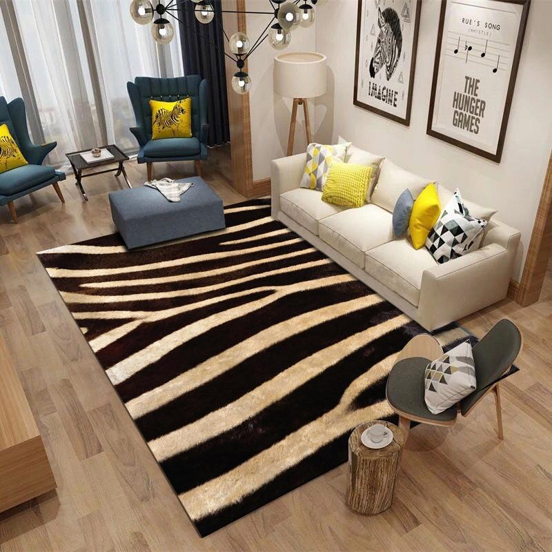 Nordic Living Room 3D Zebra Pattern Printed Carpet Super Flannel Point Plastic Anti-slip Area Rug Floormat Decor Bedroom Carpets