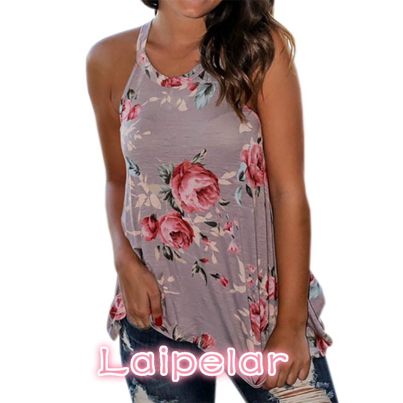 2018 Summer Tshirts Women Sleeveless Floral Printed Tank Top O Neck T Shirt Beach Tops Femme Casual Loose Blusas Femininos GV640 in Tank Tops from Women 39 s Clothing