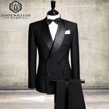 LN036 Double-Breasted Groomsmen Shawl Satin Lapel Groom Tuxedos Black Men Suits Wedding Best Man (Jacket+Pants+Tie)