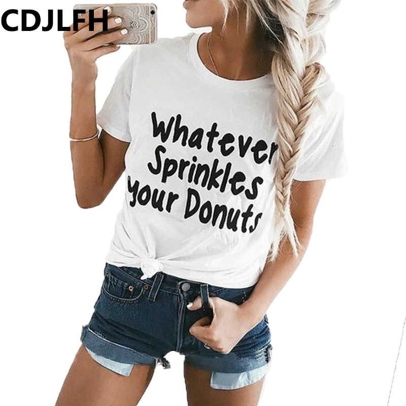 87adb391083ac 2019 Summer Casual T Shirt Tops Cute Donuts Print Women Shirt Fashion Sexy  O-neck Harajuku Female Ladies T-Shirt Women Tees Tops