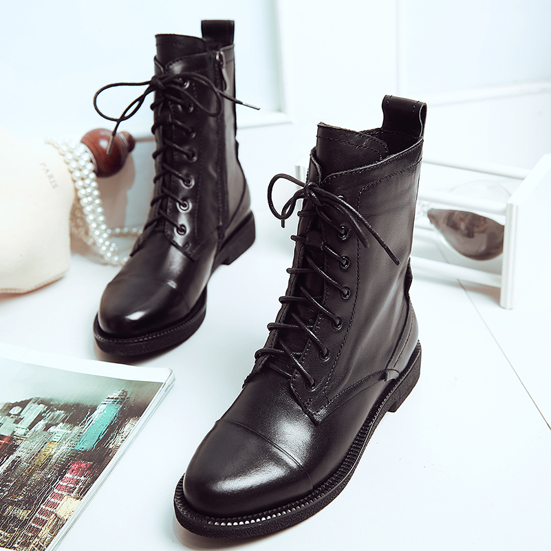Women s boots women ankle boot new fashion autumn winter Genuine leather lace up shoes zapatos