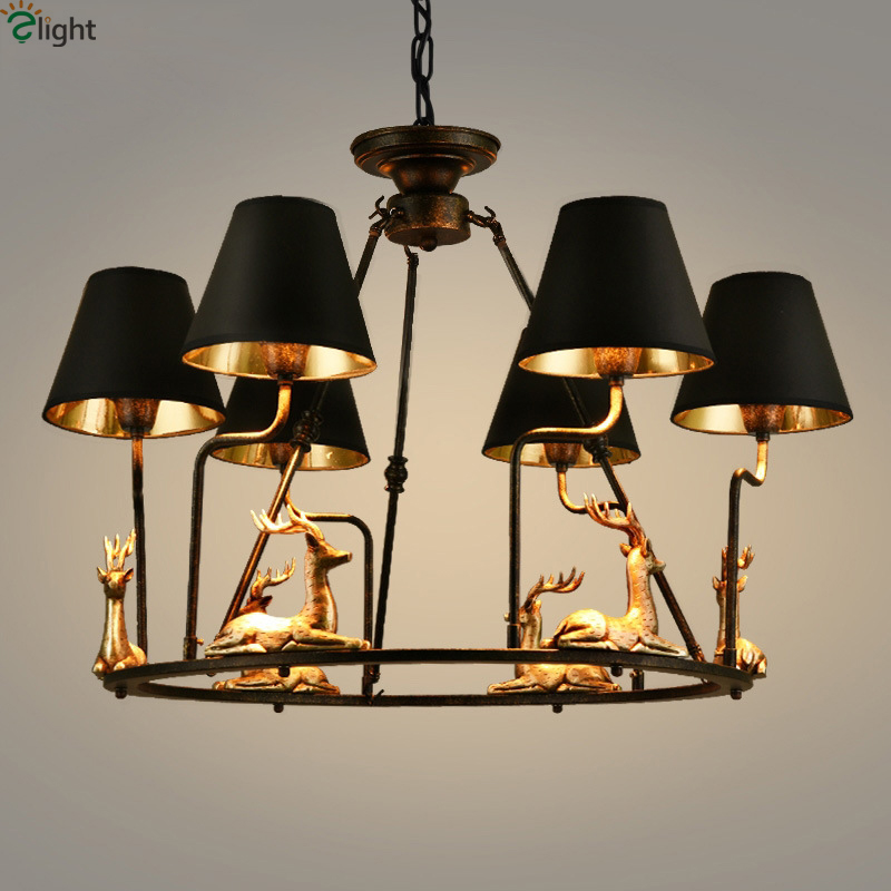 Retro Iron Led Chandeliers Lighting Resin Deers Dining Room Led Pendant Chandelier Lights Hanging Lamp Fixtures For Living RoomRetro Iron Led Chandeliers Lighting Resin Deers Dining Room Led Pendant Chandelier Lights Hanging Lamp Fixtures For Living Room