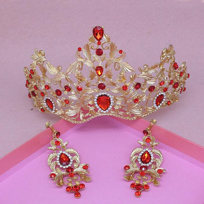 Gold Plating Women Hair Jewelry Set Earrings Crowns Red Rhinestone Crystal Tiaras 2018 Wedding Party Bride Headbands Headpieces