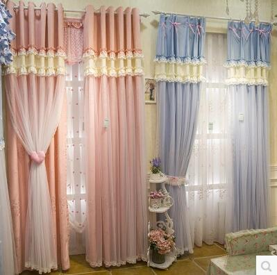 Pink Lace Curtains Princess Room Girls Wedding Girl Heart Korean Custom Finished Curtain