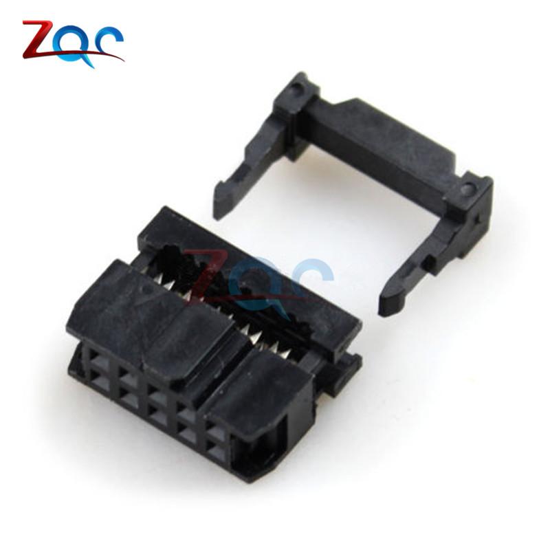 10PCS 2.54mm Pitch 2x5 Pin 10 Pin IDC Female Header Socket Connector FC-10 20pcs 2 54mm pitch 2 x 15 pin 30 pin female header idc socket connector black free shipping