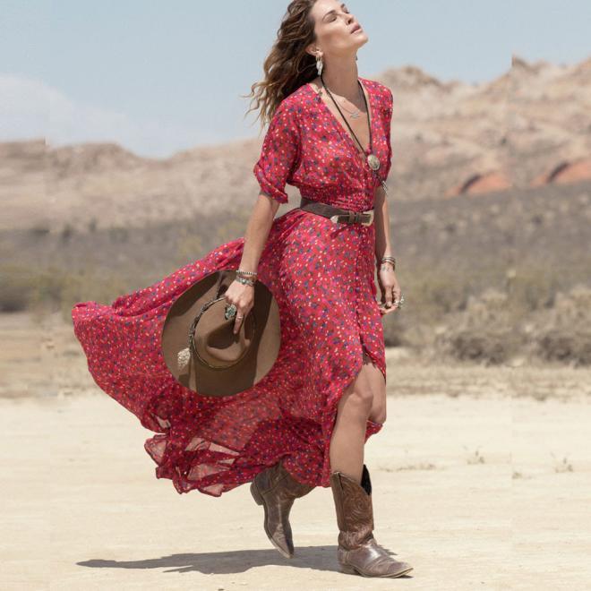 latest sale detailed look attractivefashion US $4.48 36% OFF feitong Women Beach Dress Chiffon Floral Long Maxi Dress  Boho Summer dress women plus size summer dress beach boho #w30-in Dresses  ...