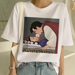 Новая женская футболка в стиле Харадзюку с темным белоснежным принтом, Женская Повседневная футболка с коротким рукавом, футболка с забавн...