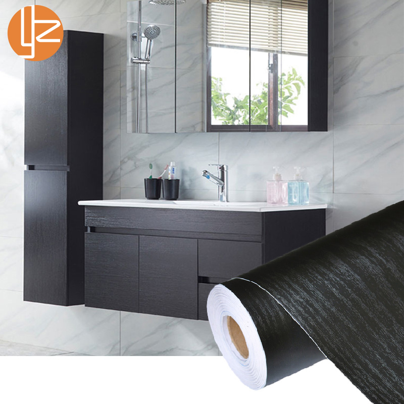 PVC Self Adhesive Waterproof Black Wood Wallpaper Roll Furniture Door Desktop Cabinets Wardrobe Vinyl Wall Sticker Contact Paper Стол